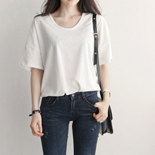 B21451A New Summer fashion Korea women loose solid color stylish T shirt