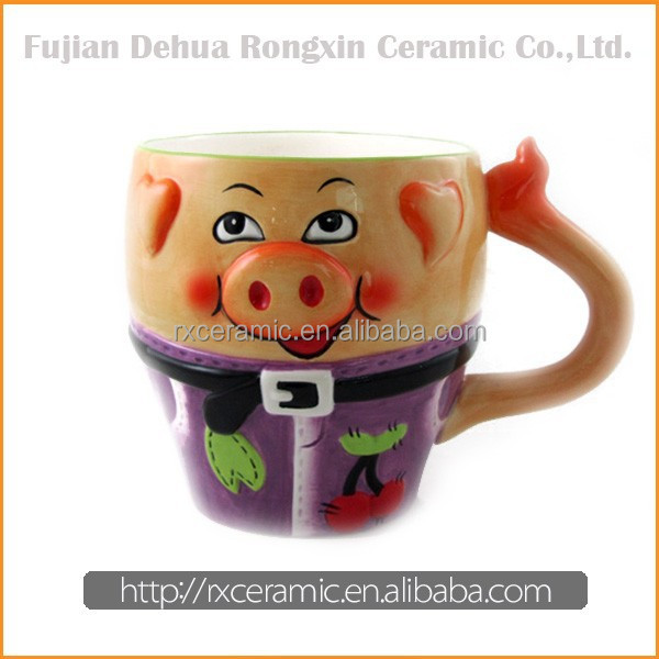 3D Hand-Painted Ceramic Animal Pig Mug