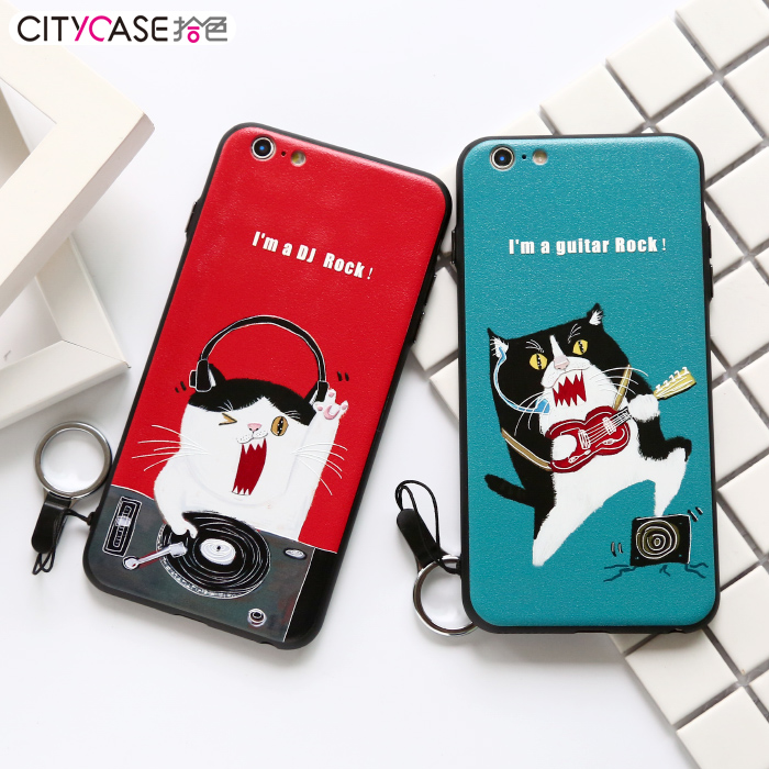 TPU PC 3D Combo High quality Soft Silicone Mobile Case Back for iphone 6 6S 6Plus with Colorful Print