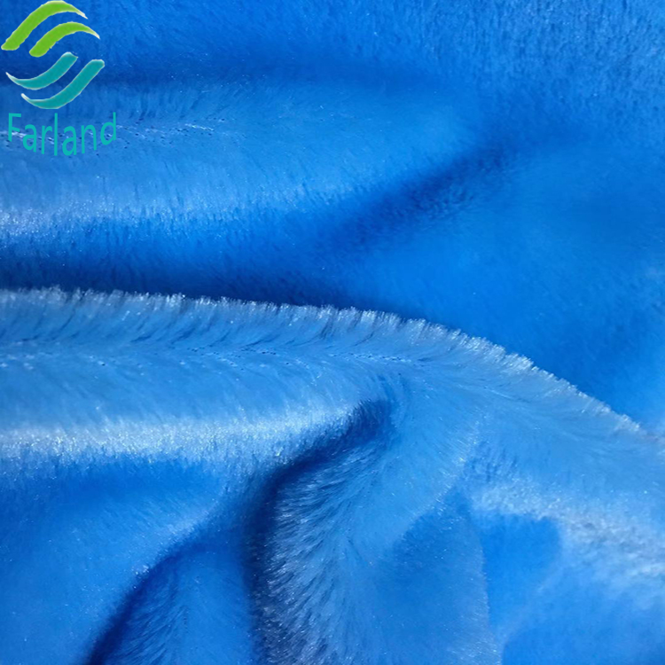 100% polyester super soft shiny blue solid color 12-40mm plush faux fur fabric