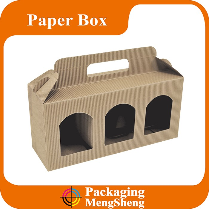 Brown recycled kraft paper box three jars packaging with handle for selling