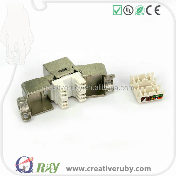 RJ45 tool free cat6a Zinc alloy Keystone Jack open up style