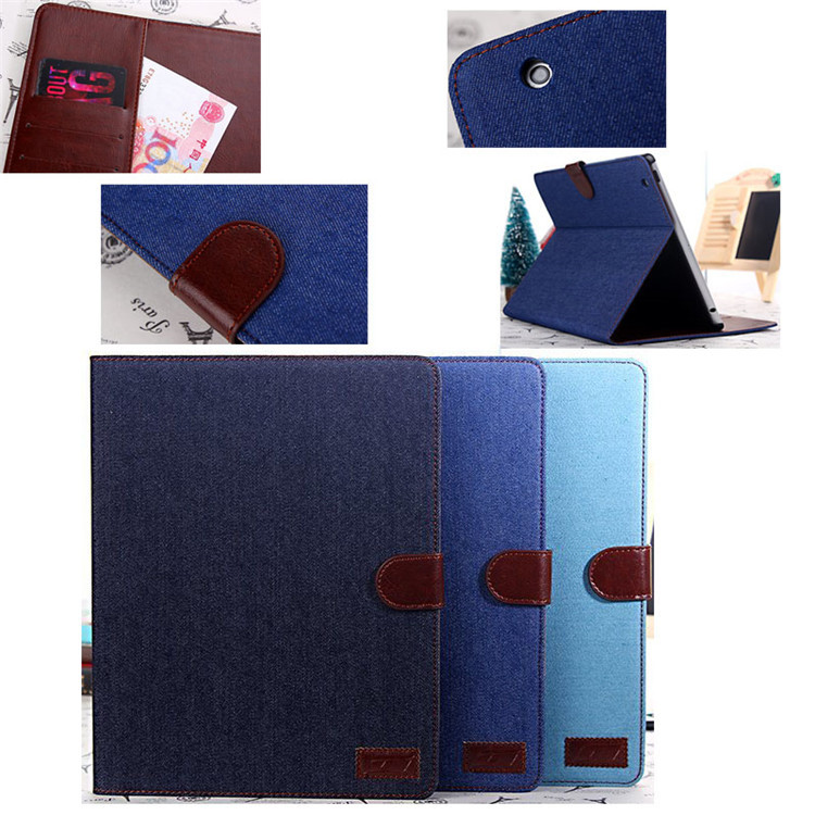 High Quality Jeans Leather Smart Cover Case For iPad4/3/2 , for I pad cover