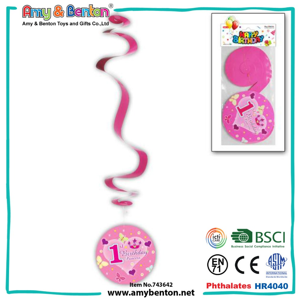 Promotional OEM birthday party stage swirl hanging decorations