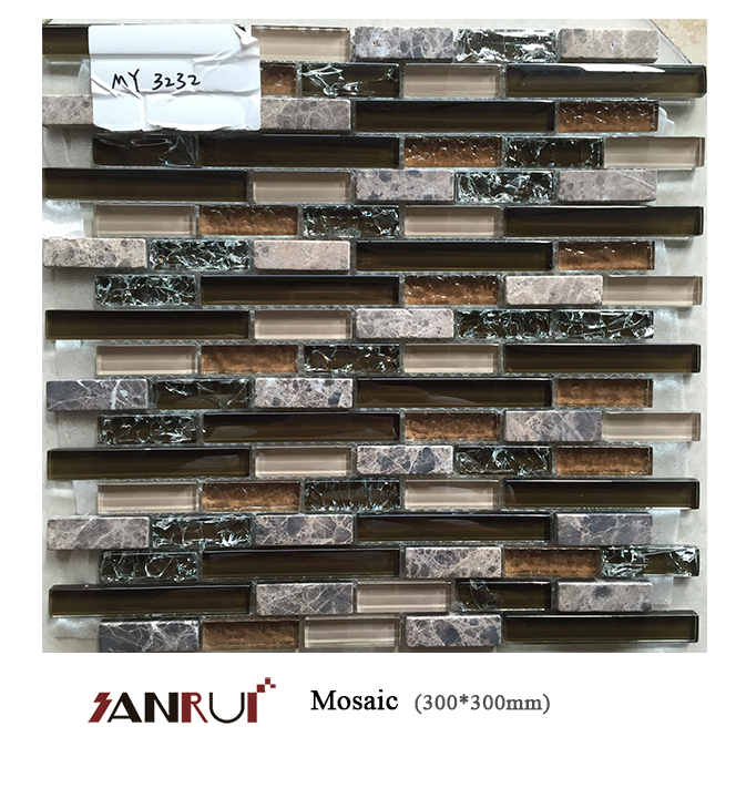 Libya tile price Strip Glass Mix Light Emperador Stone Mosaic Tile for Modern House