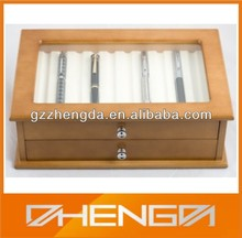 High quality custom made-in-china luxury glass lid wooden pencil box (ZDS-F001)