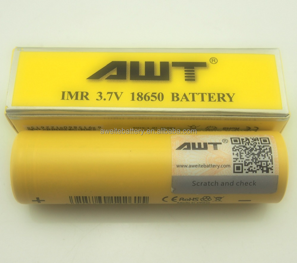 PH hottest awt Yellow flat top battery 18650 2600mah 3.7v 40a battery rechargeable for crit box mod 18650 v2