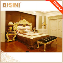 French Rococo Design Gold Leaf Carving King Size Bed/ European Classic Royal Luxury Golden Wooden Bedroom Furniture