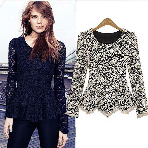 walson Women's Spring Autumn Long Sleeve O- Neck Lace Sexy Blouse Top 8554 b lace ropa mujer
