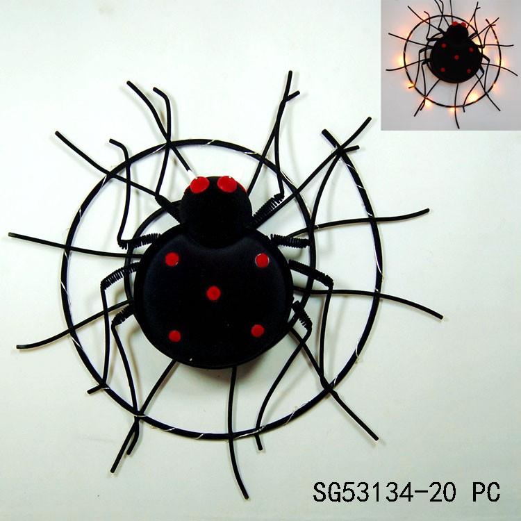 halloween metal spider decoration with led lighted