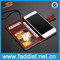 Hot selling PU leather mobile phone case for iphone 7 with wallet stand