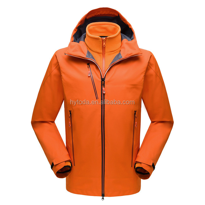Black jacket for men Winter Waterproof 3 in 1 Outdoor Warm Hardshell Jacket