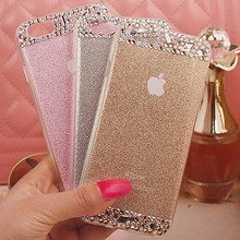 100% Diy Handmade Rhinestone Bling Diamond TPU Soft Bling Shining mobile cell phone Case Cover for Apple iPhone 6 6s plus case