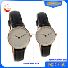 slim stone quartz dw watch with leather strap, solid butterfly buckle fashion man watch