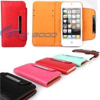 Colorful PU Leather Case with Credit Card Slot & Lanyard For iPhone 5