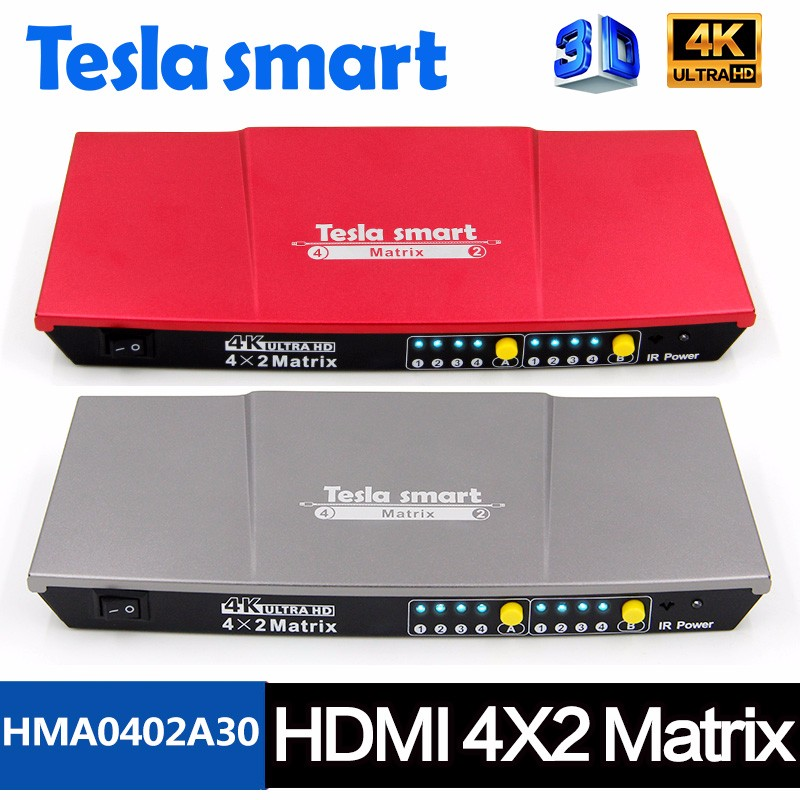 HDMI Matrix Switcher 4x2 3D 4K EDID HDMI v1.4 Video Matrix Switch Audio/ Video Mixer