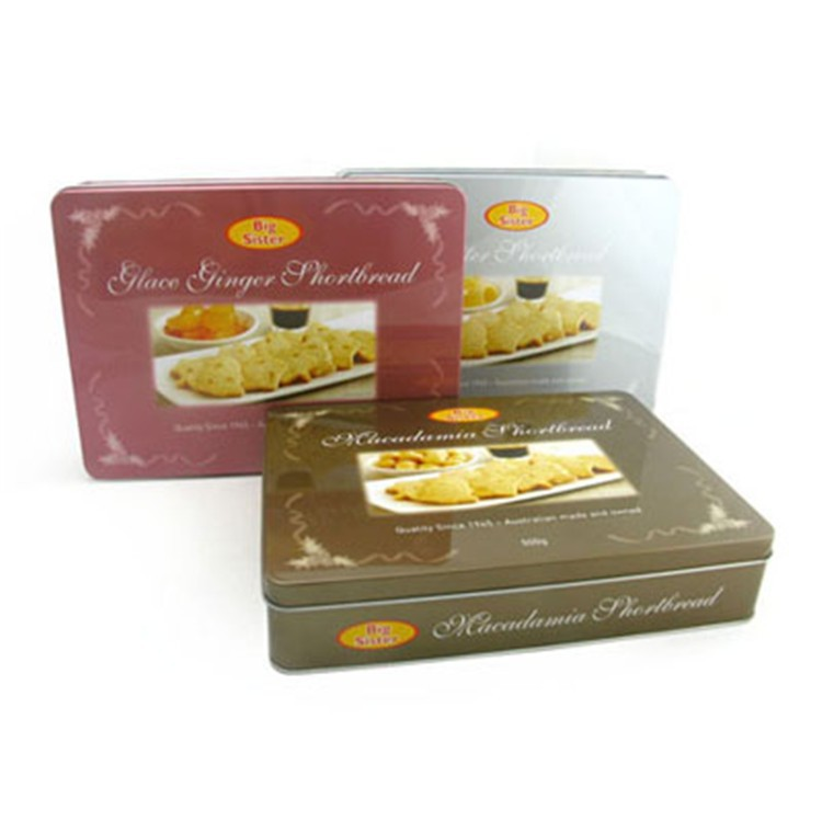 wholesale rectangular packaging tins for butter cookies