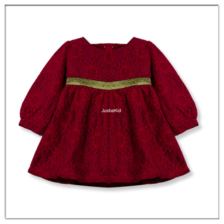 Red Children Girl Dress Long Sleeve Frock Cutting Photos High Waist Party Dresses