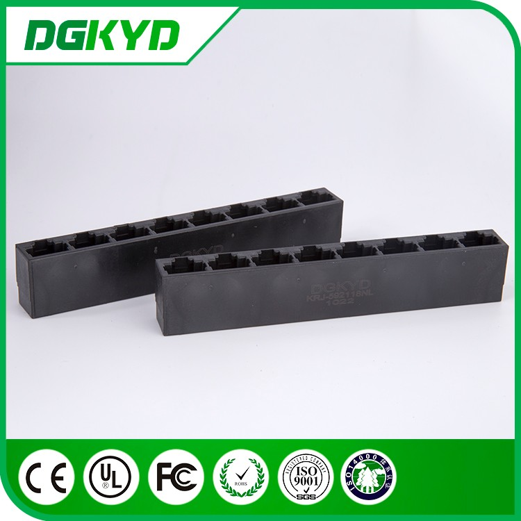 Factory price unshield 1 x 8 port rj45 keystone connector , black color , tab down