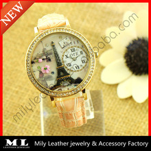MLWW-009-7 Wholesale vintage style eiffel tower lady leather vogue 3d women watches