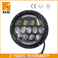 Factory direct drl led daytime running light 7'' 75w high low beam round led driving light