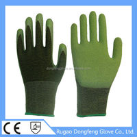 Top 15 Gauge Seamless Knitted Grip Latex Coated Spandex Bamboo Fiber Working Gloves For Food Processing