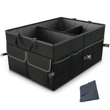 Car Trunk Organizer for SUV Truck by FORTEM Auto Durable Collapsible Cargo Storage Non Slip Bottom Strips to Prevent Sliding