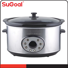6.5L new pre-set multifunction digital slow cooker stainless steel housing crock pot