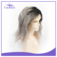 "Wholesale cheap human hair full lace/front lace wig , 2T color 12""-30"" 100 % indian human hair wig Black/Grey"