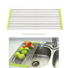 47*23cm Over Sink Roll Up Dish Drying Mat / Stainless Steel Drain Rack