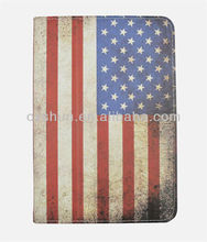 Fashion national flag design with buckle dormancy leather case stand for ipad mini