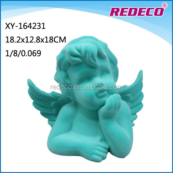 Unique resin flocked western boy angel figurine