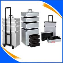 black aluminum hard shell aluminum trolley case rolling hairdresser tool case