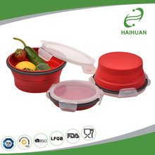 New Design 100% Food Grade Silicone, Nylon, PP Round Silicone Collapsible Containers / Lunch Boxes - 4 Sizes Foldable Silicone B