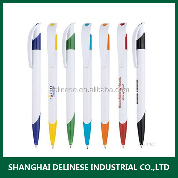 Promotional plastic ball point pen with colorful trim