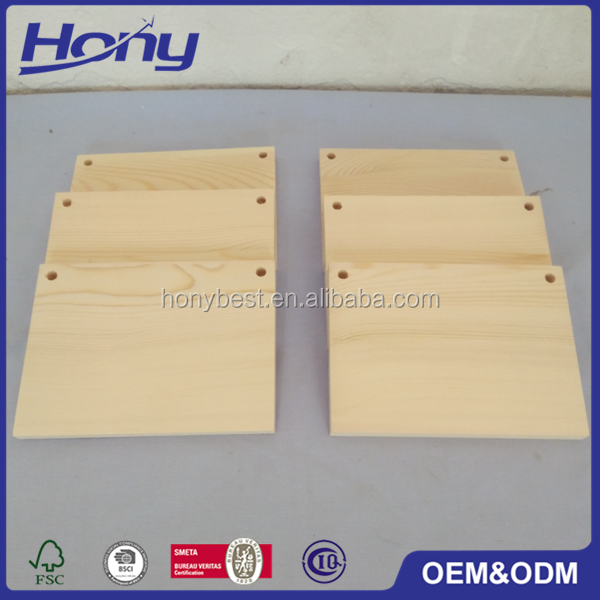 Chinese Make Wall Hanging Rectangular Pine Wood Blanks Sign Board with Two Round Holes