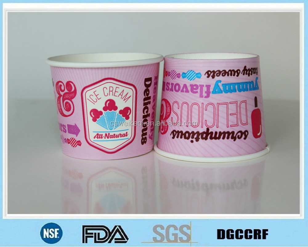 custom printed ice cream paper cups/printed frozen yogurt paper cups /disposable paper bowls