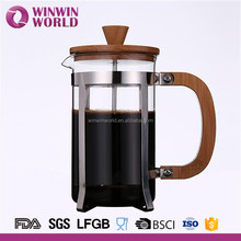 Wholesale Gifted Borosilicate Glass Bamboo lid and Handle French Press Coffee Maker With Stainless Steel Filter