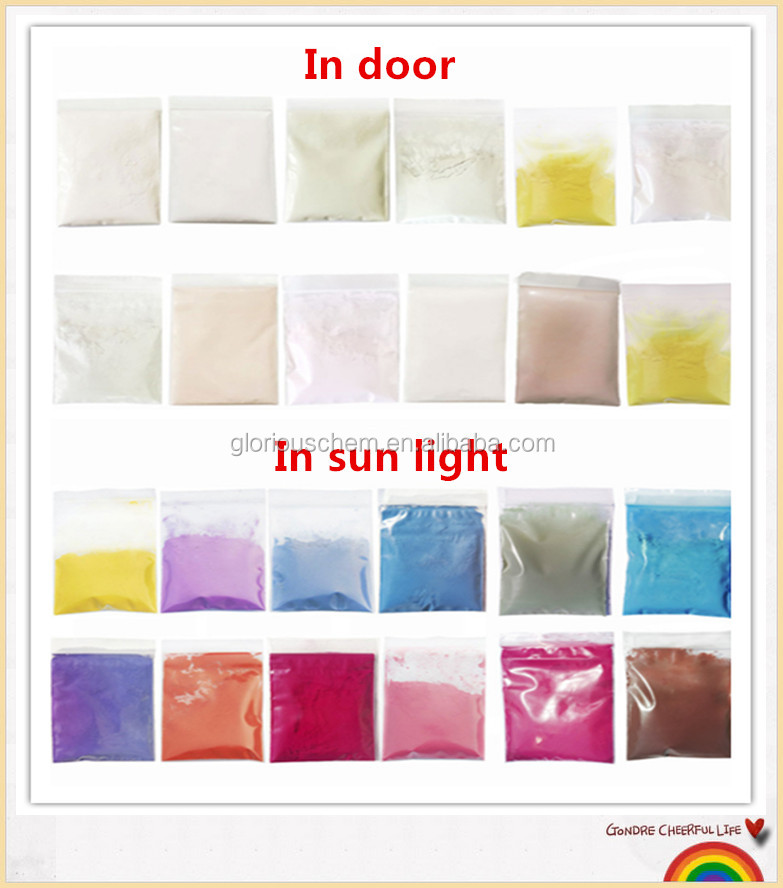 UV light Photochromic pigment color changing from colorless to color by UV irradiation