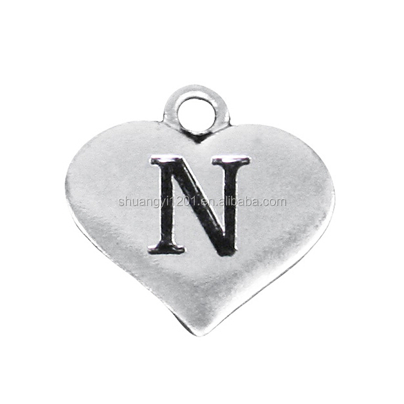 Wholesale Factory Fashion Hearts Styles Letter <strong>N</strong> Pendants & Charms For Accessory