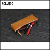 Simple hot selling vintage Italian genuine leather zipper pencil case