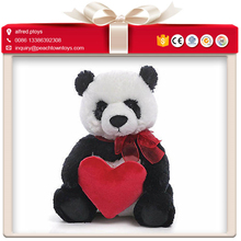 Valentine gift taking red heart giant panda plush toy