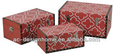 S/3 RED RECTANGULAR LEATHER WOODEN STORAGE TRUNKS
