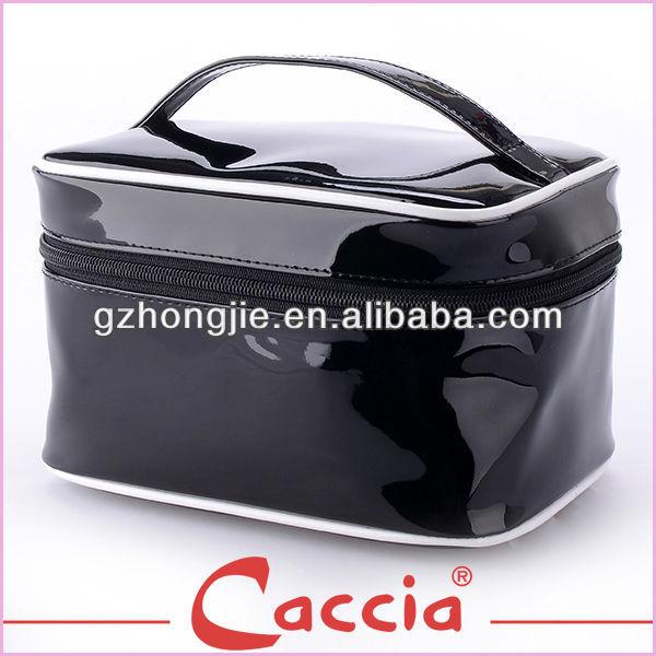 Black pvc cosmetic bag make up train case with zipper top closure and handle