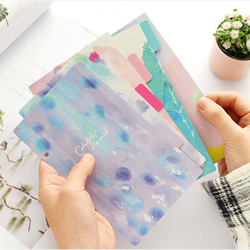 5 sheets/set Flower Colored Delicate Art Paper Diario Planner Index Page Planner Inner Slip Sheet Binder Category Paper