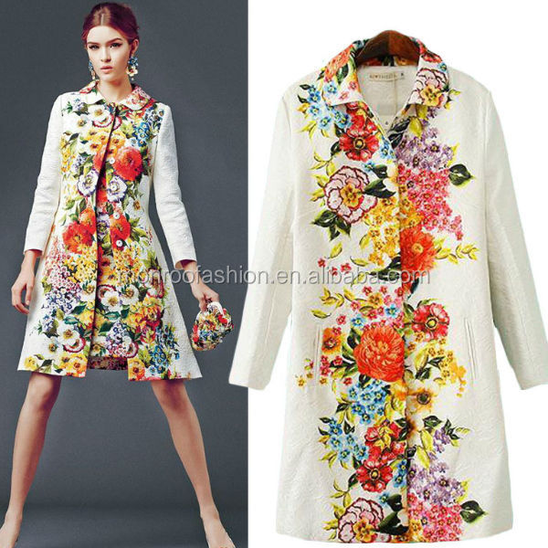 monroo western autumn high-end fashion flower lady's long wind coat