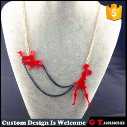 Unique Design Hip-Pop Jewelry Girl Walking Two Dogs With Long Chian Shaped Red Pendant Acrylic Necklace