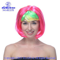 2015 New Arrival Wholesale cheap synthetic hair multi color short bob wigs