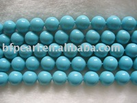 "wholesale 16"" 8mm blue round shell pearls loose strand"