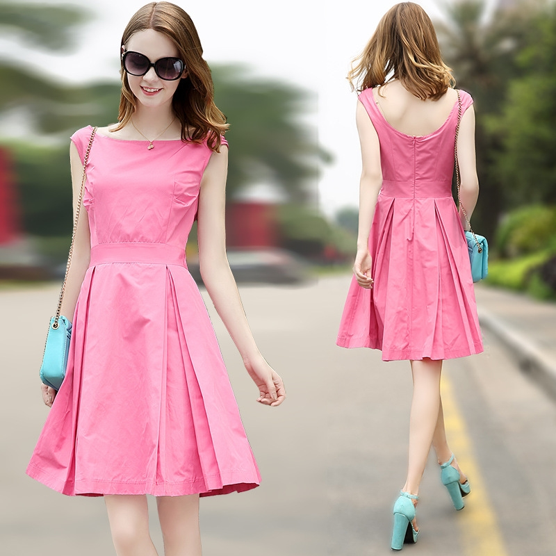 pictures of latest gowns designs lady's clothing elegant backless cap sleeves flare women casual dress for spring